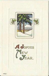 Contemporary Art Deco Winter Scene New Year Vintage Postcard 1915