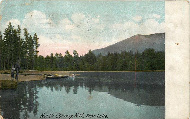 North Conway New Hampshire~Echo Lake~Fisherman~Row Boat~Mountain~1912 Postcard