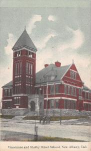 New Albany Indiana~Vincennes And Shelby School~Men on Corner~1910 Postcard