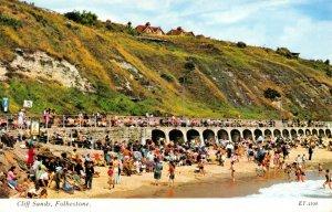 Vintage Kent Postcard, Cliff Sands, Folkestone, Beach, Sun, Sea, Sand FI1