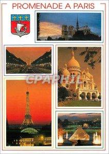 Modern Postcard Paris N D the Champs Elysees and the Arc de Triomphe Eiffel T...