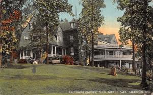 Baltimore Maryland~Roland Park Country Club~Lawn~2 Story Porch~1913 Postcard