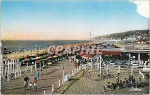 Modern Postcard Deauville (Calvados) Beach flowery boards and general view of...