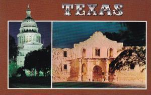 Texas State Capitol And The Alamo At Night San Antonio Texas