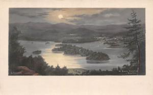 English Lake District Windermere Bowness Belle Isle, Moonlight