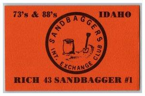 QSL Radio Card From Nampa Idaho Sandbagger's Int. Exchange Club