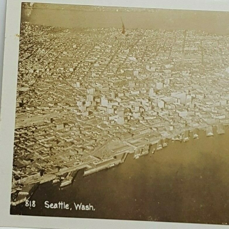 Vintage Postcard Seattle Washington Skyline Seaport