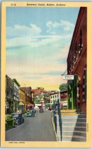 Bisbee, Arizona Postcard BREWERY GULCH Downtown Street Scene Bars Hotel Linen