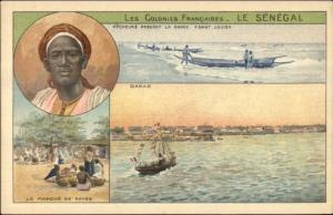 Africa Black Man Marche de Kayes Senegal Dakar c1910 Postcard