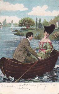 Elegant Man & Woman On A Small Boat, Couple, PU-1908