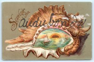 Postcard IA Audubon Souvenir Seashell Glitter Greetings c1910 View L10