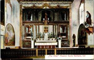 Vtg 1910s The Altar Santa Barbara Mission Interior California CA Unused Postcard