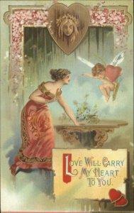 Valentine - Beautiful Woman & Cherub Ethereal Scene LOVE WILL CARRY MY HEART