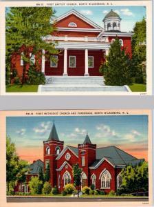 2 Postcards NORTH WILKESBORO, NC   First Methodist Church, First Baptist Church