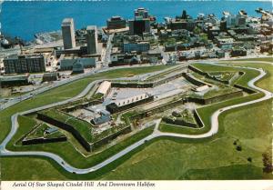 Aerial View Star Shaped Citadel Hill Harbour Halifax Nova Scotia Postcard 1984
