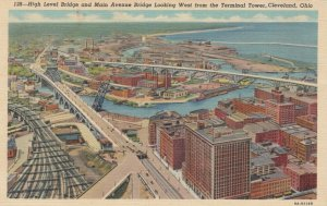 CLEVELAND, Ohio, 1930-40s; High Level Bridge & Main Avenue Bridge