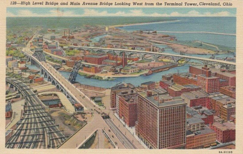 CLEVELAND, Ohio, 1930-40s; High Level Bridge & Main Avenue Bridge