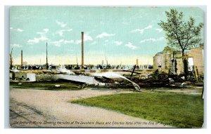Postcard Old Orchard Beach (OOB), Maine Ruins Seashore & Emerson Fire 1907 Y65 2