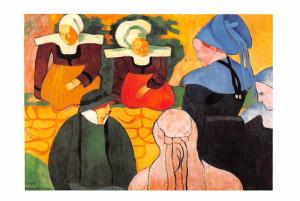 Emile Bernard - Breton Women on a Wall