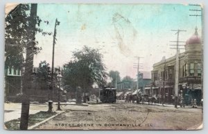 Bowmanville Illinois~Main Street Trolley~Drug Store~Beer~Barber Shop Pole~1908