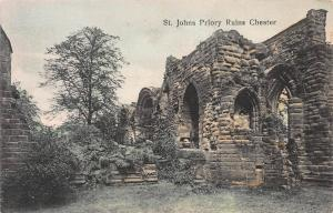 St. Johns Priory Ruins, Chester, England, Early Hand Colored Postcard, Unused