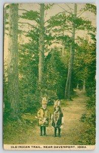 Davenport Iowa~Old Indian Trail~Little Children in Native American Costume~1912