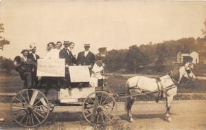 F15/ Parade Real Photo RPPC Postcard c1910 Wagon Band Broom 13