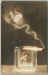 CIGARETTE SMOKE DREAM PHOTOMONTAGE 1913 ANTIQUE real photo POSTCARD RPPC