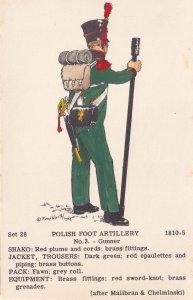 Polish Foot Artillery Gunner Uniform Military Napoleonic War Postcard