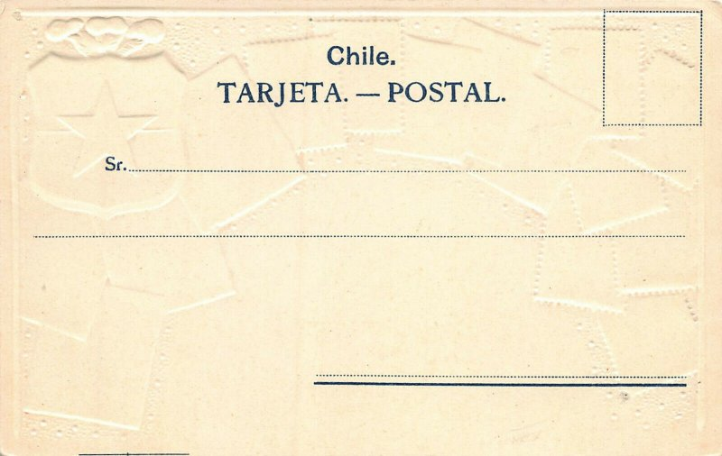 Chile Stamps on Early Embossed Postcard, Unused, Published by Ottmar Zieher