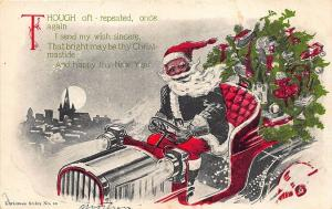 Christmas Santa Claus Green Suited Driving Auto Embossed Postcard
