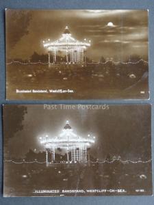Essex: Westcliff on Sea, 2 x Illuminated Bandstand - Old RP Postcard