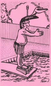 Postcard Fun Funny Novelty Comic, Man Diving, Teddy Boy, Pink 32A
