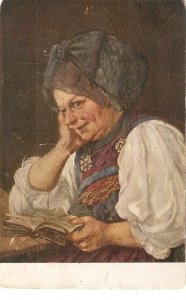 Old lady reading a book Fine painting, vintage German postcard