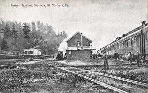 Rexford Junction Montana~Great Northern Railway Station~Train at Depot~1908 B&W