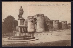 La Statue du Roi Rene et le Chateau,Angers,France BIN