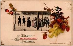 Thanksgiving~Pilgrims in Snowy Woods~Acorn Oak Leaves Drape Inset~John Winsch