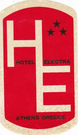 GREECE ATHENS HOTEL ELECTRA VINTAGE LUGGAGE LABEL