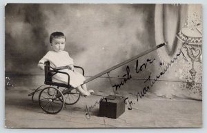 RPPC~14-Month Old Martin Lunnger Strapped in Wheelchair~Long Handle~Studio~c1910