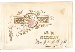 Happy Birthday Pink Silk Rose Bird Swallow Vintage Embossed