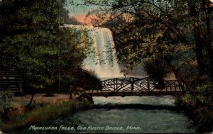 Minnesota Minneapolis Minnehaha Falls & Old Rustic Bridge
