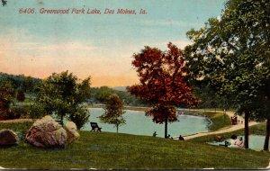 Iowa Des Moines Greenwood Park Lake 1912