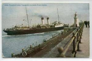 Turbine Steamer Pier Head Lighthouse Folkestone Kent UK 1910c postcard