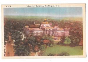 Washington DC Library of Congress Ideal Linen Postcard
