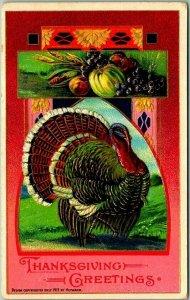 1910s THANKSGIVING GREETINGS Embossed Postcard Turkey / Fruit HEYMANN Unused