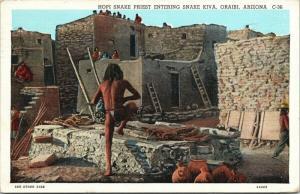 Hopi Snake Priest Entering Kiva Oraibi Arizona AZ c1938 Postcard D81