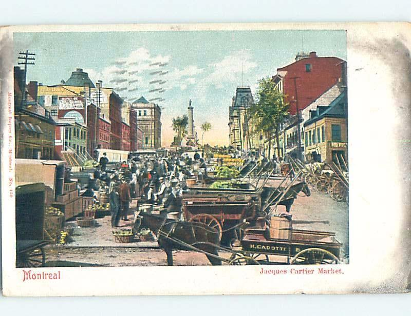 Pre-1907 MERCHANT VENDOR WAGONS AT MARKET Montreal Quebec QC A0161