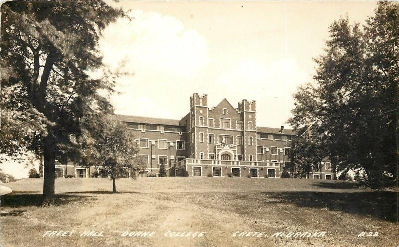 Crete Nebraska~Doane College~Frees Hall~1930s Real Photo Postcard~RPPC