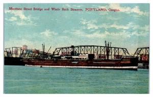 1909 AYPE Morrison Street Bridge & Whale Back Steamer, Portland, OR Postcard *5G