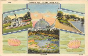 Detroit Michigan~Belle Isle Park~Fountain-Lily Pond-Beauty Spot~Info on Back~'58
